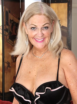 Blonde 58 year old Judy Mayflower afrom AllOver30 enjoying her toy